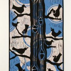 Magpies, proud birds and so stylistically right!  WHAT IS A LINOCUT?: an 3 color linocut print reduction, this means that as I am printing the very short edition of 8 prints I cut away areas to k...