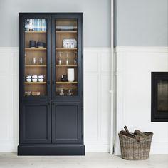 SkabRum cabinet in beautiful dark-blue colour. Depth only 23 cm. Kitchen Cabinet Styles, Kitchen Cupboards, Home Design Decor, House Design, Crockery Cabinet, Bedroom Cupboard Designs, Cottage Kitchens, Living Room White, Home Decor Inspiration