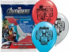 "Avengers Marvel Comics Party Supplies Colored Helium Balloons 12"" 6ct by Pioneer Latex. $4.85. Colors vary. 6 ct 12' Helium Quality Latex Balloons. Superheros Incredible Hulk, Thor, Iron Man and Captain America. Marvel Avengers Superheros Printed 12in Latex Balloons.  The Avengers superheros are The Incredible Hulk, Thor, Iron Man and Captain America.  Each package contains 6 Helium quaility assorted color balloons per pack."