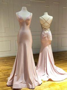 Sweetheart Pink Satin Long Mermaid Dress, Backless Evening Dress from Sweetheart Dress Blush Formal Dresses, Prom Dresses Long Pink, Simple Prom Dress, V Neck Prom Dresses, Dance Dresses, Sexy Dresses, Party Dresses, Bridesmaid Dresses, Pageant Dresses