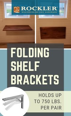 Folding Shelf Brackets-Select Option - Folding shelf brackets for fold-down work surfaces. Brackets adjust to four positions, hold up to 750 lbs. Spring-loaded, one-handed release lever. Woodworking Epoxy Resin, Small Woodworking Projects, Rockler Woodworking, Woodworking Workbench, Workbench Plans, Fine Woodworking, Folding Shelf Bracket, Shelf Brackets, Fold Down Work Bench