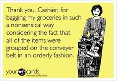 LOL! This is so me! I'm OCD about grouping my items when I check out. It annoys me when everything is just thrown in any bag, lol. Hey, admitting the problem is the first step right?
