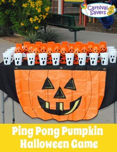 halloween game ping pong pumpkin battery powered tea lights are an awesome touch