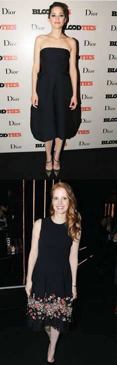 Fabulously Spotted: Marion Cotillard & Jessica Chastain In Christian Dior - 'Blood Ties' 2013 Cannes Film Festival After Party - http://www.becauseiamfabulous.com/2013/05/marion-cotillard-wearing-dior-blood-ties-2013-cannes-film-festival-after-party/