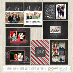 Chalkboard Cheer Vol 2 Holiday Card Photoshop Templates – Prairie Sweet Boutique