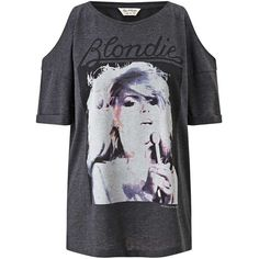 Miss Selfridge Blondie Tee (€40) ❤ liked on Polyvore featuring tops, t-shirts, grey, gray tee, loose t shirt, grey top, miss selfridge and loose fit tops