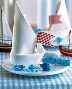 Ideas For Origami Wedding Table Napkin Folding Nautical Party, Nautical Wedding, Yacht Wedding, Trendy Wedding, Decoration Communion, Origami Wedding, Napkin Folding, Wedding Table Settings, Wedding Designs