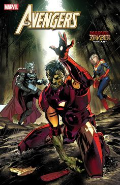 Avengers Marvel Zombies variant cover - Iron Man, Thor and Captain Marvel by Ryan Benjamin, colours by David Curiel * Marvel Comic Books, Marvel Heroes, Marvel Avengers, Captain Marvel, New Zombie, Zombie Art, Dollhouse Family, Comic Art Community, Comic Book Collection