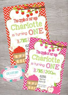 Apple of my eye birthday party invitation  red or pink printable digital file by LoveAByeBaby on Etsy