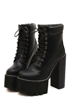 This item is shipped in 48 hours, included the weekends. Material: Leather Measurements Heel height: - cm Platform height: - 6 cm Origin: Made in China Free Ems expedited shipping to Lace Up High Heels, Platform High Heels, Black High Heels, High Heel Boots, Heeled Boots, Cute Shoes, Me Too Shoes, Gothic Shoes, Gothic Dress