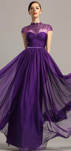 eDressit High Neck Purple Evening Dress