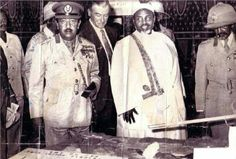 Ethiopia:- Historical Photo; Sultan Ali Mirah of Afar with Emperor Haile Selassie on the right and the Emperor's son Crown Prince Asfaw Wossen on the left.