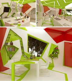 Cubism, Cubed: Green Tendrils Wrap Through White Kitchen | Home and Interior Design Ideas