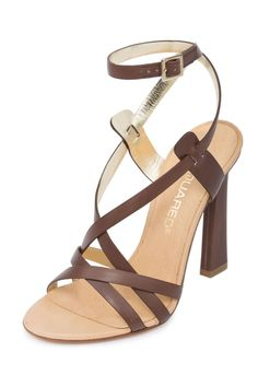 Dsquared2 Women Matte Brown Leather Ankle Strap Stiletto High Heel Sandals Shoes US 10 EU 40. Adjustable ankle strap. Crossing straps and adjustable ankle strap. Leather lining. IMPORTANT: See Our Shoes Buying Guide & Policy.