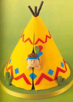 Teepee Cake, cowboy and indian theme