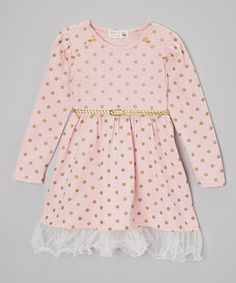 Look at this #zulilyfind! Kid Swag Pink & Gold Polka Dot Belted Dress - Toddler & Girls by Kid Swag #zulilyfinds