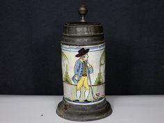 WALZENKRUG FAYENCE KERAMIK ANTIK ALPHORN ZINNDECKEL PUNZE BESCHÄDIGT MAGDEBURG ? in Antiquitäten & Kunst, Porzellan & Keramik, Keramik, Nach Form & Funktion, Sammelkrüge | eBay