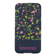 FLORAL PINK ROSE VINE NAVY PERSONALIZED GALAXY S5 CASE - floral style flower flowers stylish diy personalize