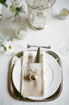 Holiday Wedding Place Setting | photography by http://www.ashleyseawellphotography.com