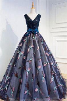 bd50a055e Pretty V-neck Lace Up Navy Blue Tulle Long Open Back Prom Dresses Z0688