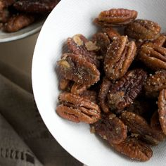 Ginger-Spiced Pecans | Pecan halves sautéed with butter, sugar, and ...