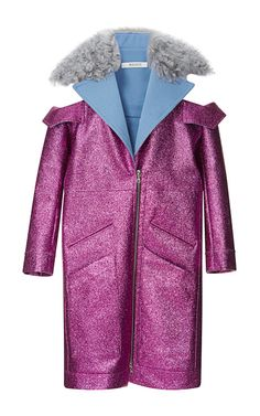 Fuchsia Glitter Coat With Shearling Trim by Rodarte - Moda Operandi