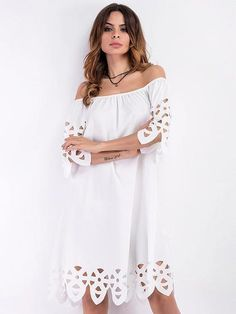 be0767d80 White Off Shoulder Cut Out Detail Shift Dress – risechic.com Blusa Sin  Hombro