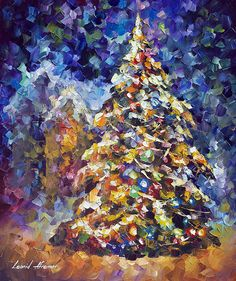 I would like to present my hand painted oil on canvas painting Fir Tree - oil painting. Fir Tree by Leonid Afremov Fur Tree, Christmas Tree Painting, Painted Christmas Tree, Noel Christmas, Palette Knife, Oil Painting On Canvas, Canvas Canvas, Painting Tips, Painting Art