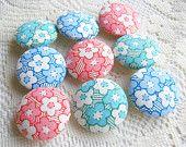 Sakura Sweet Fabric Buttons, Fabric covered button, pink green blue cherry blossom 9pcs,25mm, Size 40 woman, spring, cute ,quilt, handmade
