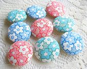 Sakura Sweet Fabric Buttons, Fabric covered button, pink green blue cherry blossom 9pcs,25mm, Size 40 woman, spring, cute ,quilt, handmade