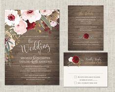 Marsala Wedding Invitation Bohemian Floral Wedding Invitations