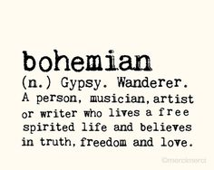 Bohemian - 8x10 inches on A4 (in light cream and black) Boho Dictionary…
