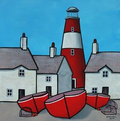 Paul Bursnall - Artists & Illustrators - Original art for sale direct from the artist Lighthouse Painting, Naive Art, Original Art For Sale, Painting Inspiration, Art Lessons, Painted Rocks, Home Art, Amazing Art, Landscape Paintings