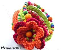 Crochet and beads child's bracelet