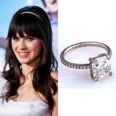 Death Cab for Cutie's Ben Gibbard presented Zooey Deschanel with this three-carat Asscher cut diamond engagement ring set in platinum by Neil Lane.