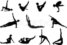 Pilates silhouettes of working out and stretching on the stock vector