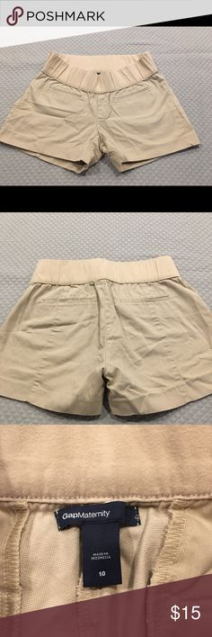 Gap Khaki Maternity Shorts Gently used // spandex cotton waist band // cotton short // two front pockets // back pockets are fake for style // 4 inch inseam GAP Shorts