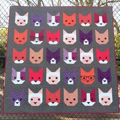 "66"" x 66"" Quilt Pattern by Elizabeth Hartman Simon, Chrissy, Bacon Bits, Daisy, and Mr. Snuggles combine to make an adorable sampler quilt. A plain cats variati"