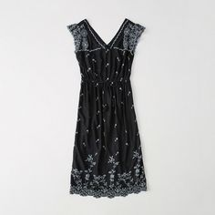 Abercrombie & Fitch Embroidered Midi Dress ($29) ❤ liked on Polyvore featuring dresses, black floral, ruffle sleeve dress, embroidery dresses, floral print midi dress, embroidered midi dress and long-sleeve midi dresses