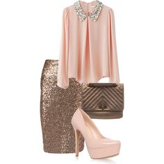 Soft pink sequins collar top and sequin pencil skirt. Pretty touch of elegance.  Apostolic Fashion #45