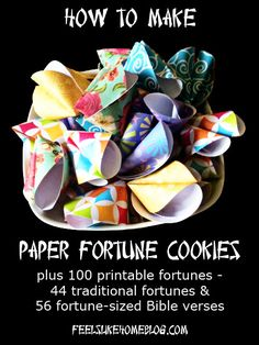 How to make Paper Fortune Cookies - Includes free printable fortunes, both traditional Chinese fortunes and Bible verse slips for New Year's Eve, Chinese New Year, or any time of year. Birthday parties would be fun. Kids Crafts, New Year's Crafts, Craft Projects, Projects To Try, Paper Crafts, Holiday Crafts, Owl Crafts, Origami, Love Fortune Cookie