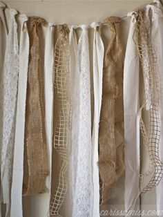 This would look nice as a photo back drop! Carissa Miss: diy burlap and lace garland using the David Tutera Casual Elegance Collection of DIY bridal and wedding decor, crafts and accessories Burlap Projects, Burlap Crafts, Diy Projects, Burlap Garland, Burlap Lace, Ribbon Garland, Fabric Garland, Burlap Decorations, Burlap Curtains