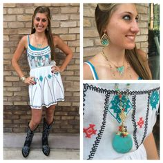 **NEW** Love the Aztec embroidery on this sweet new summer dress!  Southern Thread Austin, TX.