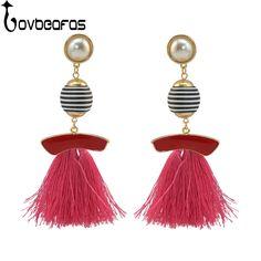 LOVBEAFAS 4 Colors Brincos Drop Tassel Pearl Earrings For Women Enamel  Statement Fringe Long Earring Fashion 922fa9f8cc51