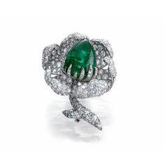Bogh Art. Emerald & diamond flower brooch...♡