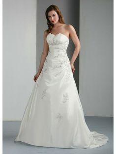 Satin A-Line Strapless Notched Neckline Ruffled Bodice Wedding Dress
