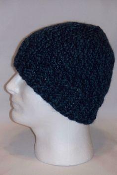 Warm Winter Beanie Hat Denim Twist Color Mens by lousknittingroom
