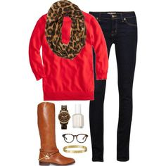 I have all of these elements--black skirt or pants, coral sweater, animal print scarf, tan shoes!