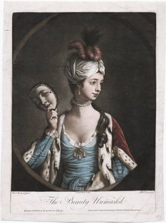 An illustration of a woman dressed for a masquerade ball that dates back to 1770. She is also wearing an ermine trimmed coat and a turban, perhaps inspired by Lady Mary Montagu.