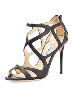 Jimmy Choo Leslie Curvy-caged Leather Sandal, Canyon In Black Leather Black Leather Shoes, Leather Sandals, Real Leather, Black Shoes, Shoes Heels Pumps, Stiletto Heels, Beautiful High Heels, Jimmy Choo Shoes, Fashion Heels